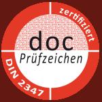 docConsult Prüfzeichen zertifiziert nach DIN 2347